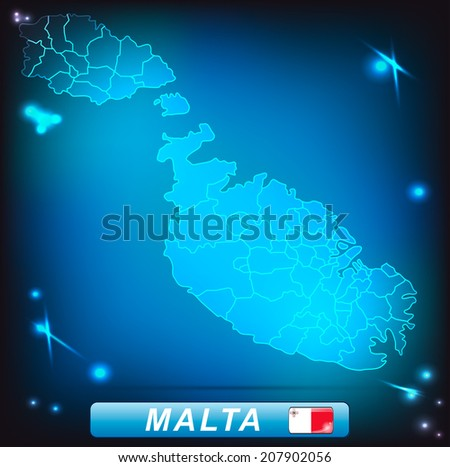 Map of Malta with borders with bright colors - stock photo