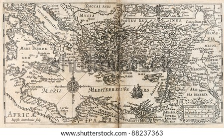 map of Mediterranean and surrounding area from 1647 Dutch Bible - stock photo