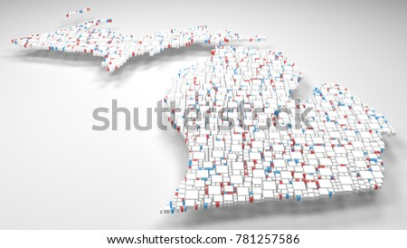 Map of Michigan - USA | 3d Rendering: mosaic of little bricks - White and Flag colors