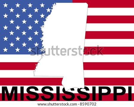 map of Mississippi on American flag illustration JPG