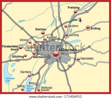 Map Munich Stock Illustration 171406952 Shutterstock