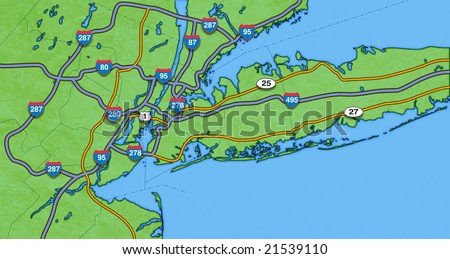 map of new york city and surrounding area-ready for display of store locations