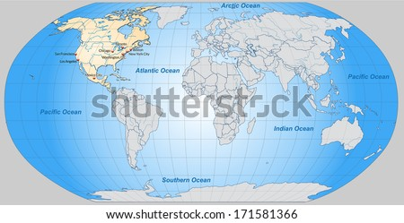 Map of North America with main cities in pastel orange - stock photo
