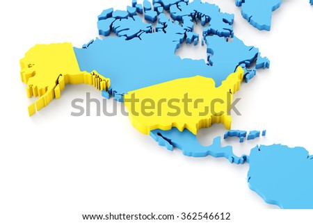 Map of North America with USA highlighted, 3d render