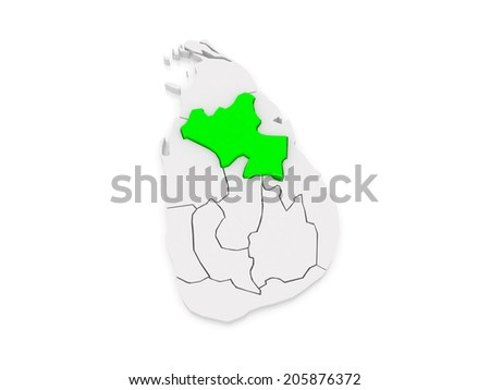 Map of North Central. Sri Lanka. 3d