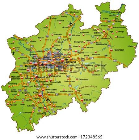 Map North Rhinewestphalia Highways Green Stock Illustration
