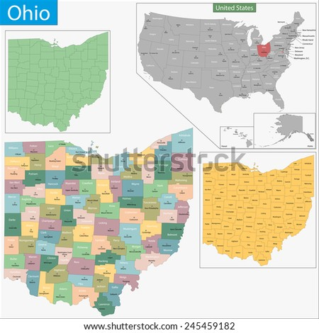 Map of Ohio state designed in illustration with the counties and the county seats - stock photo