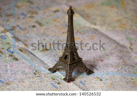 Map of Paris - stock photo