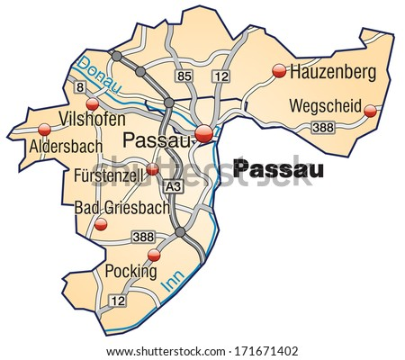 Map of passau with highways in pastel orange