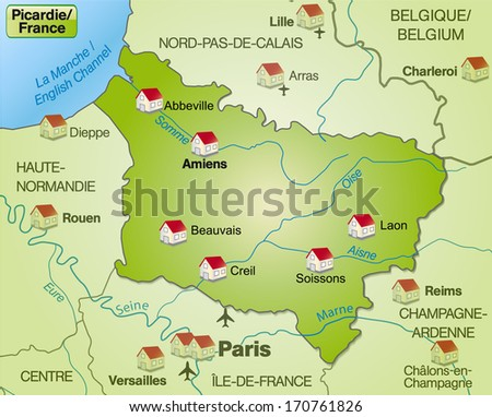 Map of picardie as an overview map in green