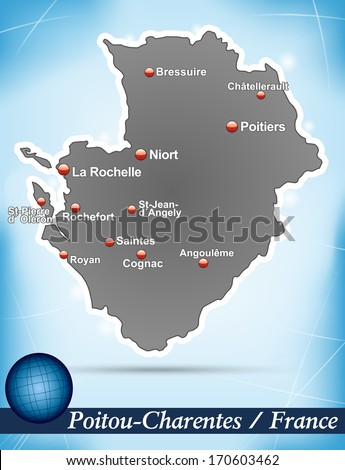 Map of Poitou-Charentes with abstract background in blue - stock photo