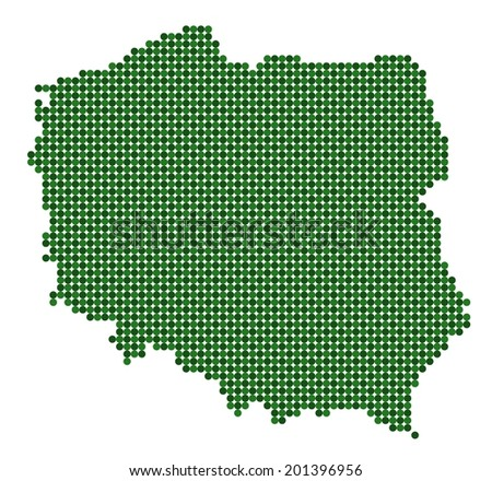 Map of Poland made from green dots