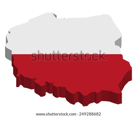Map of Poland with national flag decor  - stock photo