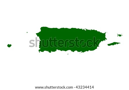 Map of Puerto Rico, isolated on white background. - stock photo