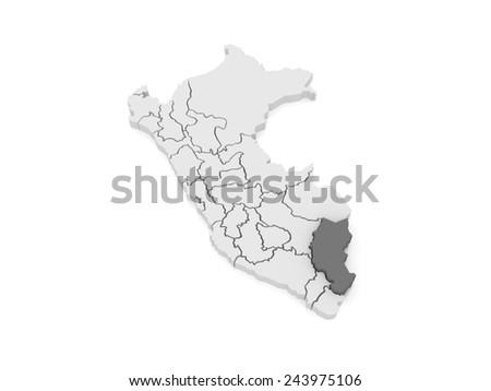 Map of Puno. Peru. 3d - stock photo