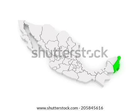 Map of Quintana Roo. Mexico. 3d - stock photo