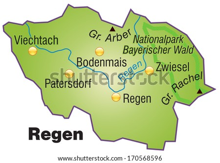Map of Regen as an overview map in green