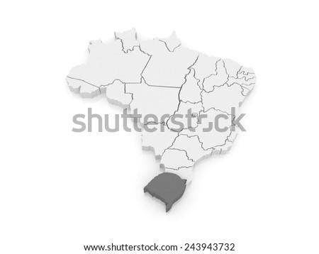 Map of Rio Grande do Sul. Brazil. 3d - stock photo