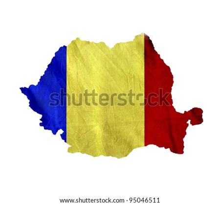 Map of Romania isolated - stock photo