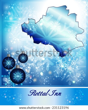 Map of Rottal Inn in Christmas Design in blue
