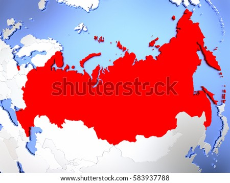 Map Russia Highlighted Red On Simple Stock Illustration 583937788