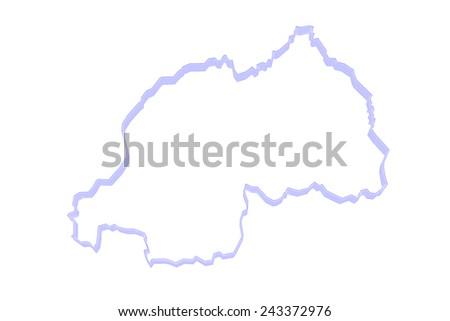Map of Rwanda. 3d - stock photo
