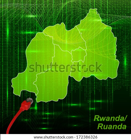 Map of Rwanda with borders in network design - stock photo
