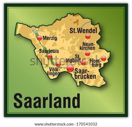 Map of Saarland as an overview map with hight layers