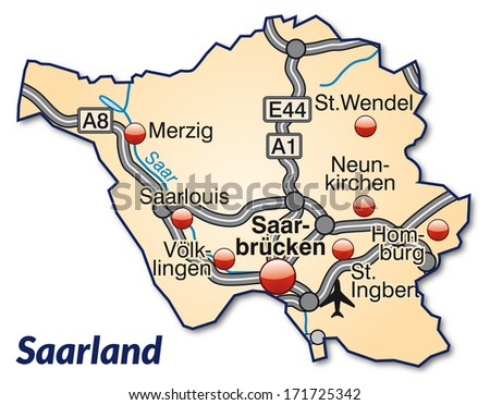 Map of Saarland with highways in pastel orange