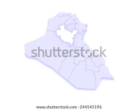 Map of Salah al-Din. Iraq. 3d - stock photo