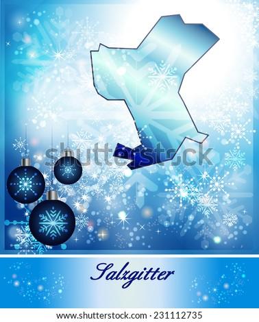 Map Salzgitter Christmas Design Blue Stock Illustration 231112735