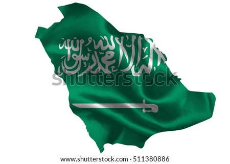 Map of Saudi Arabia with national flag on fabric surface.