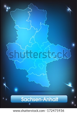 Map of Saxony-Anhalt with borders with bright colors