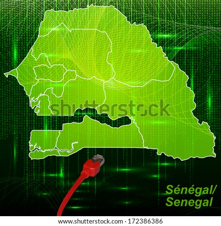 Map of Senegal with borders in network design