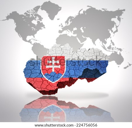 Map of Slovakia with Slovak Flag on a world map background