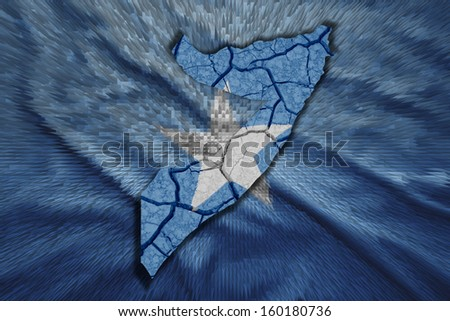 Map of  Somalia in National flag colors - stock photo
