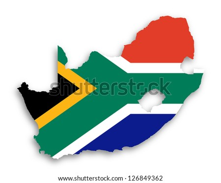 Map of South Africa with national flag isolated - stock photo