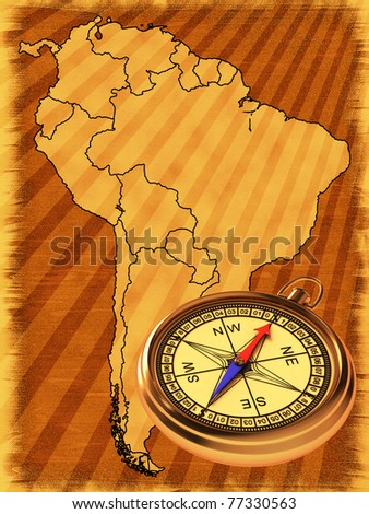 Map of South America on the background with compass