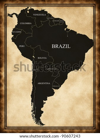 Map of South America on the old background - stock photo