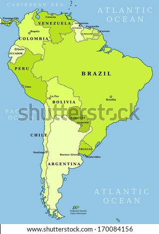 Map of South America. Political division - countries and capital ciites. Countries are separate objects, you can change color of every country. - stock photo