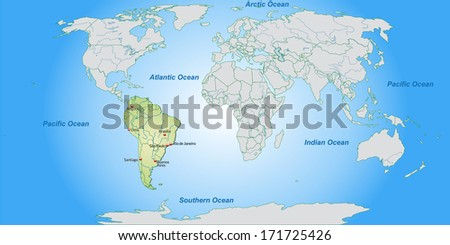 Map of South America with main cities in pastel green - stock photo