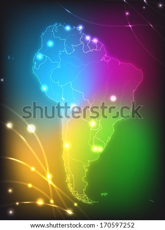 Map of South America with main cities with bright colors - stock photo