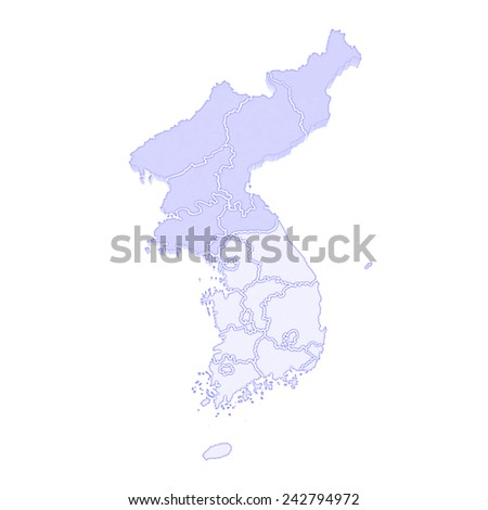 Map of South and North Korea. 3d - stock photo