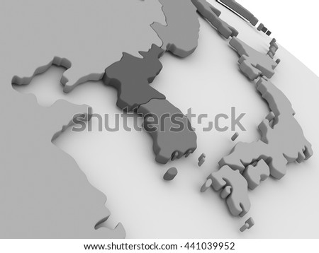 Map of South Korean and North Korea on grey model of Earth. 3D illustration - stock photo