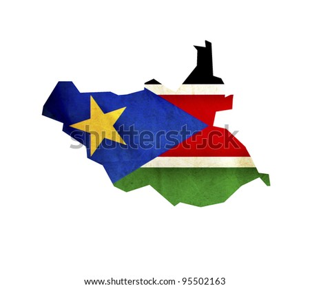 Map of South Sudan isolated - stock photo