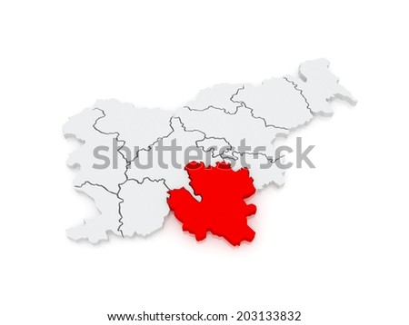 Map of Southeast Slovenia. 3d