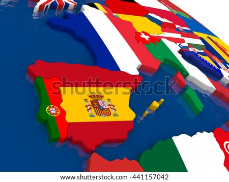 Map of Spain and Portugal with embedded flags on 3D political map. Accurate official colors of flags. 3D illustration - stock photo