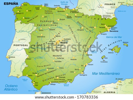 Map of Spain as an overview map in green - stock photo