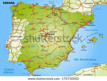Map of Spain with highways