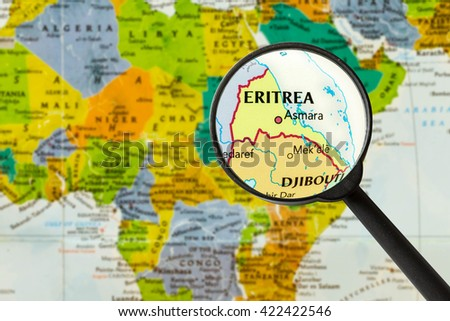 Map of State of Eritrea  through magnigying glass - stock photo